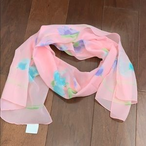 Hasting & Smith watercolor floral scarf pink blue